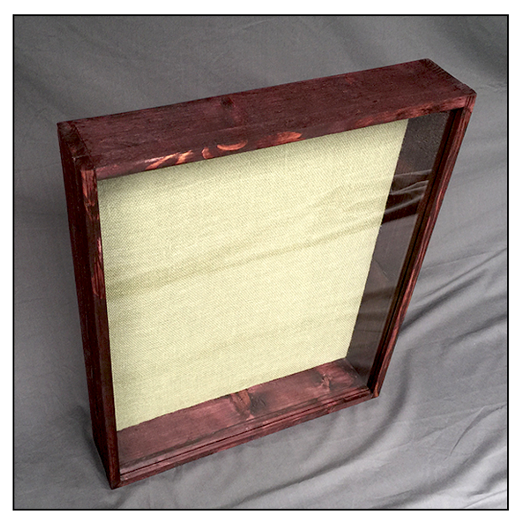 "Shadow Box - Artisan Rustic -24"" W x 20"" H x 3"" D Black Cherry/Sage Burlap"