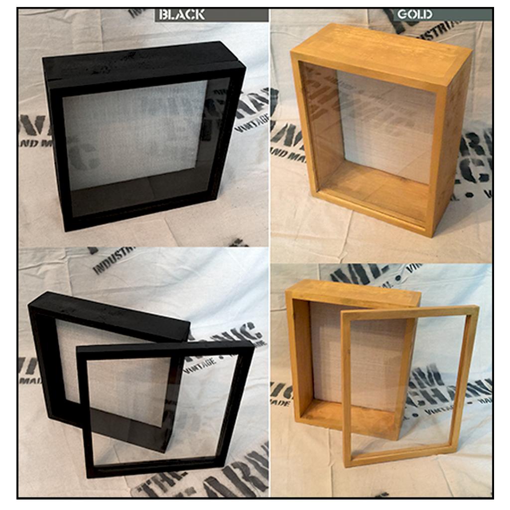 "Shadow Box - Artisan Rustic -18"" W x 24"" H x 5"" D Black/Gold"