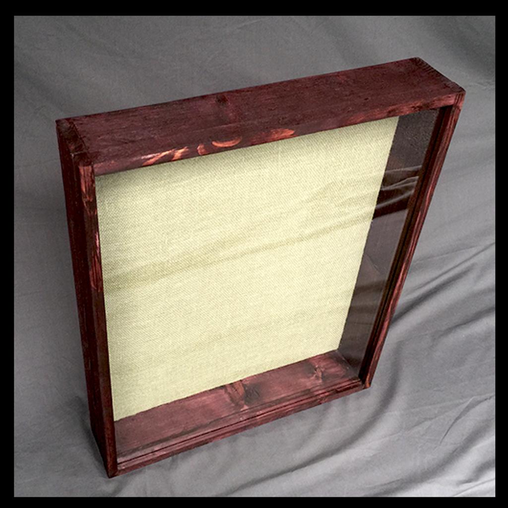 "Shadow Box - Artisan Rustic -24"" W x 20"" H x 5"" D Black Cherry/Sage Burlap"