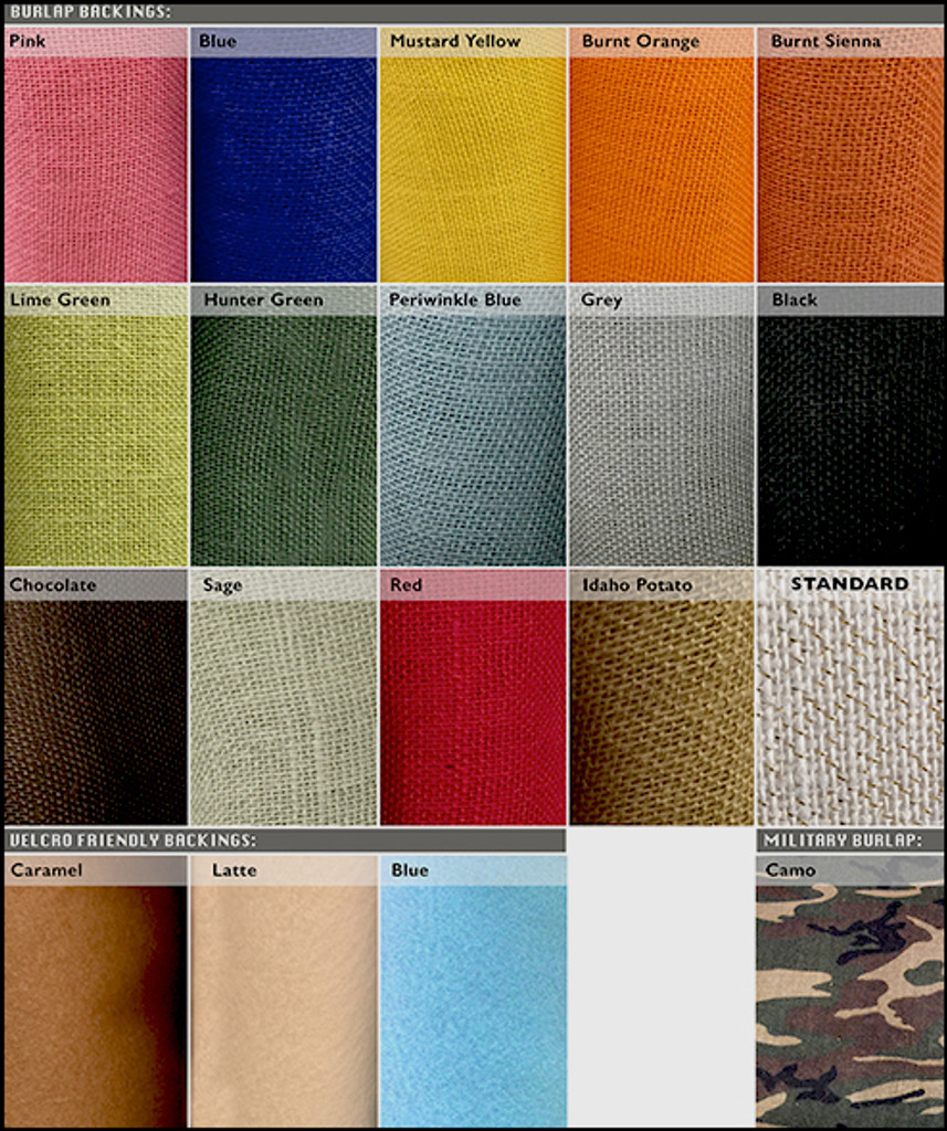 Burlap Backing Color Options