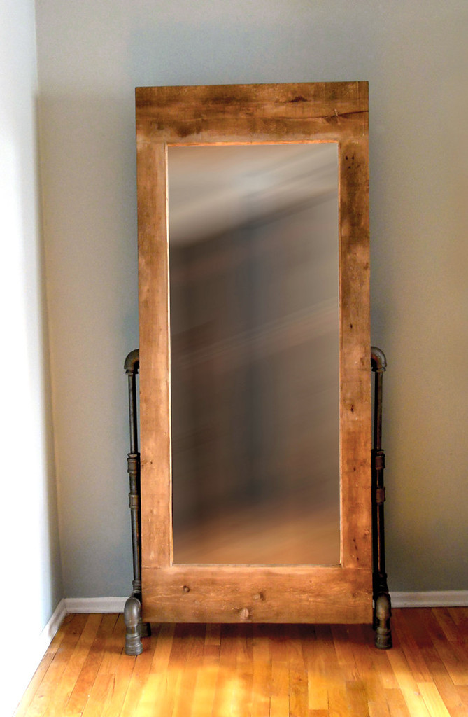 Artisan Industrial Mirror with Black Pipe Legs