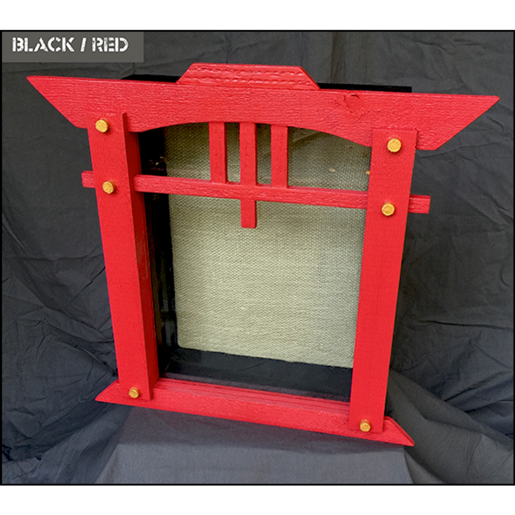"Shadow Box - Artisan Rustic ""House of Zen"" - 11"" W x 15"" H x 5"" D - Red and Black"