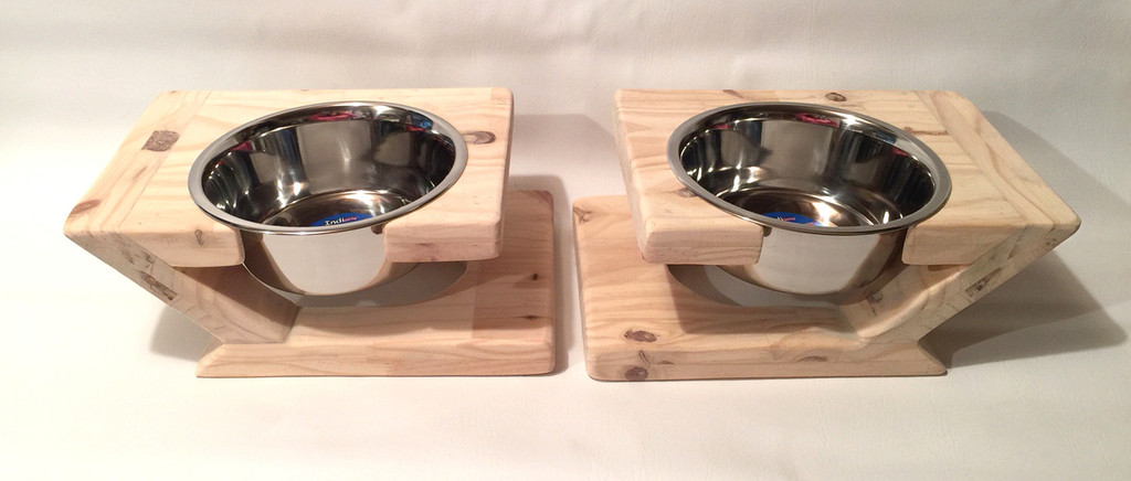 Hand Sculpted Rustic Dog Bowl Stand - Natural