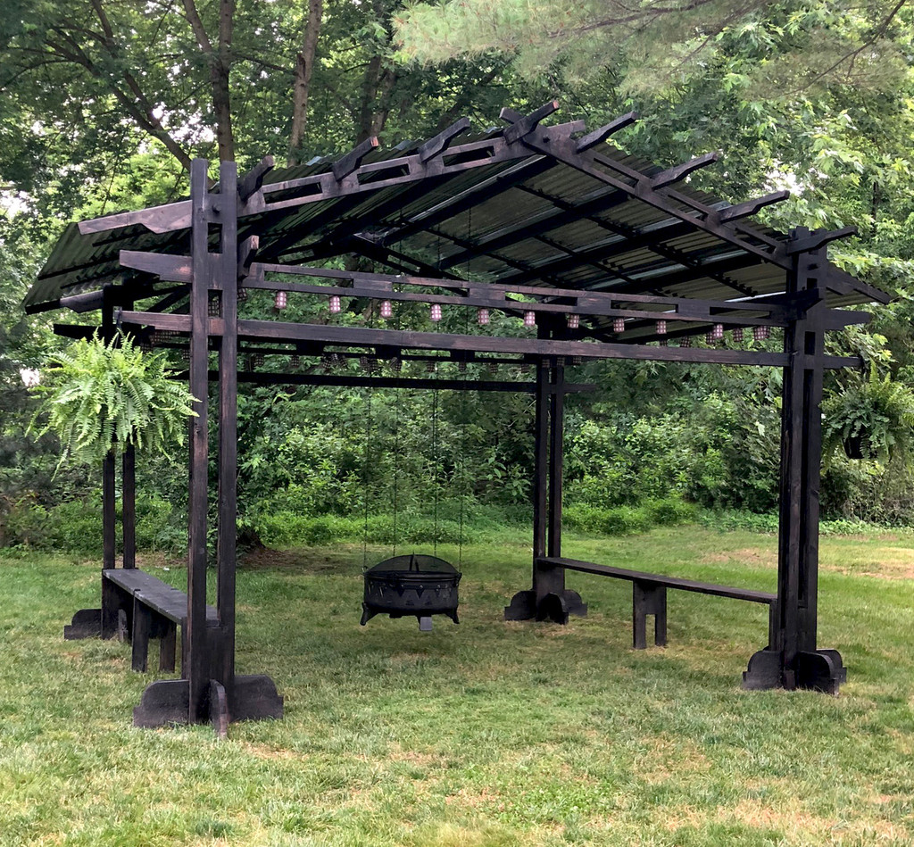 Japanese Style Gazebo with Hanging Fire Pit