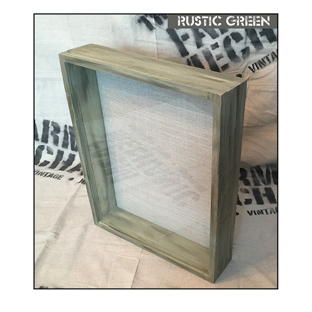"Shadow Box - Artisan Rustic -18"" W x 24"" H x 3"" D Rustic Green"