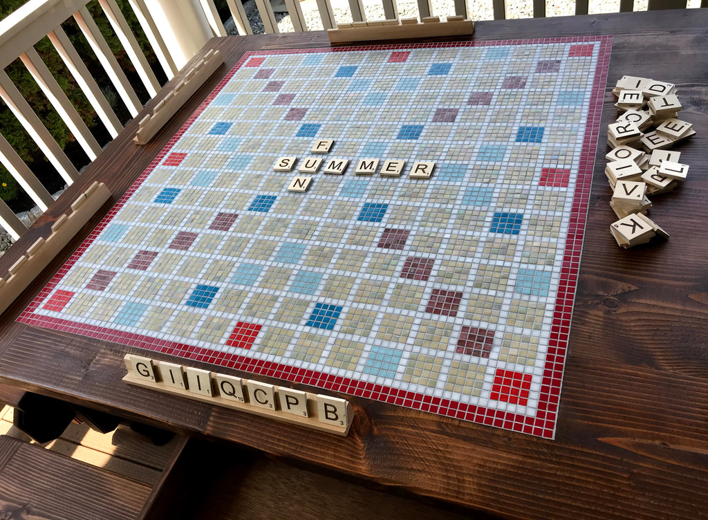 Mosaic Inlay Scrabble Board Game