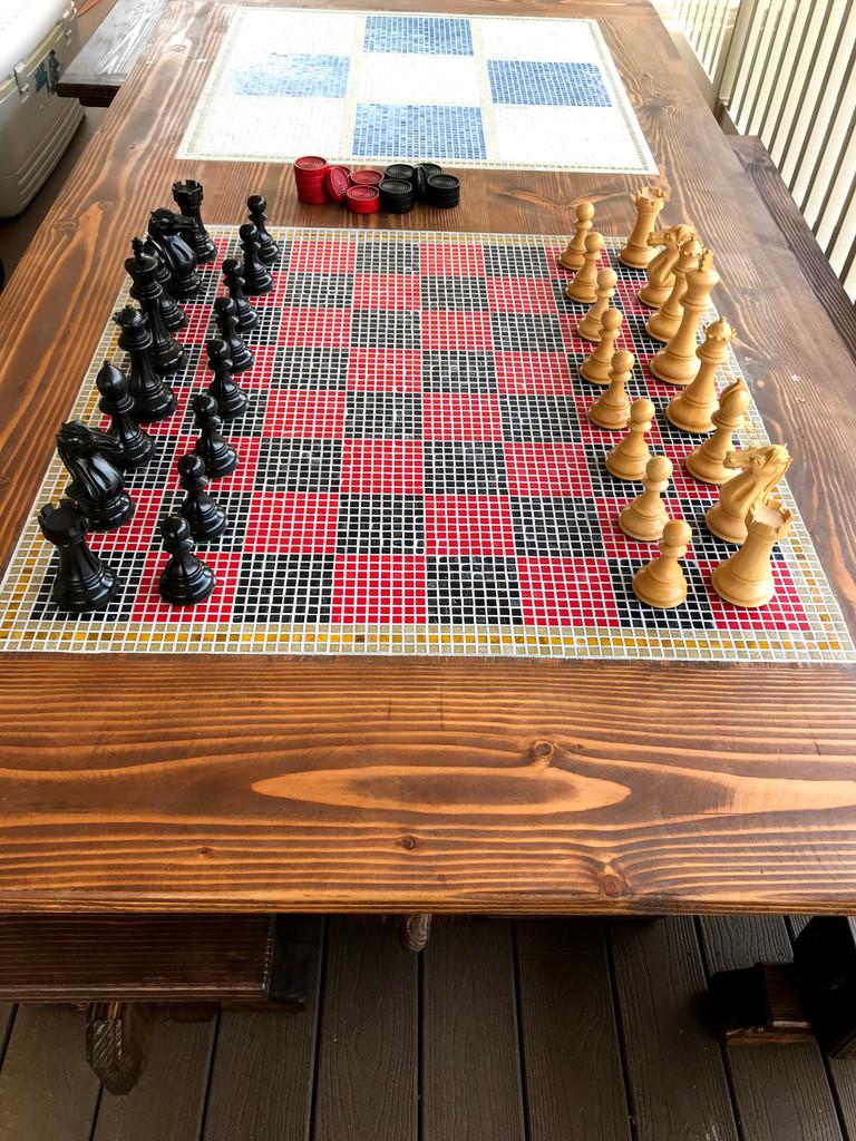 Mosaic Inlay Chess Board