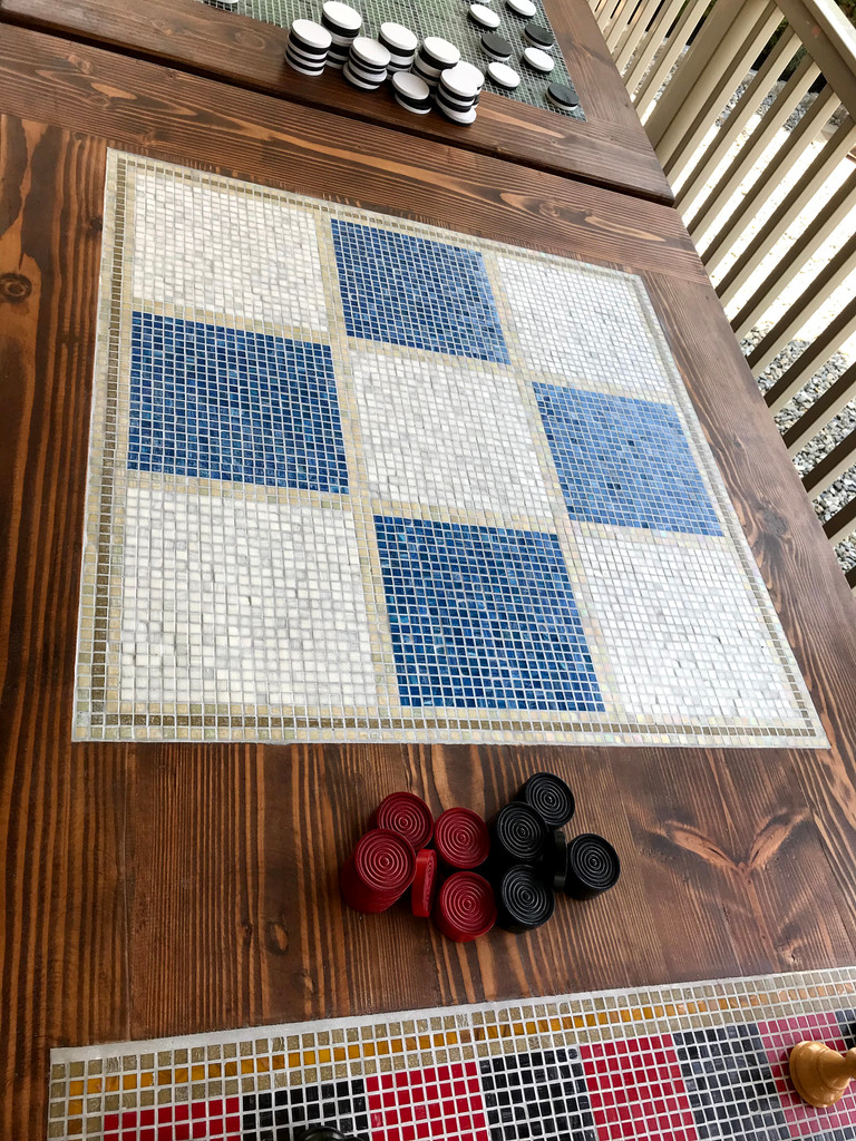 Mosaic Inlay Tic-Tac-Toe Board
