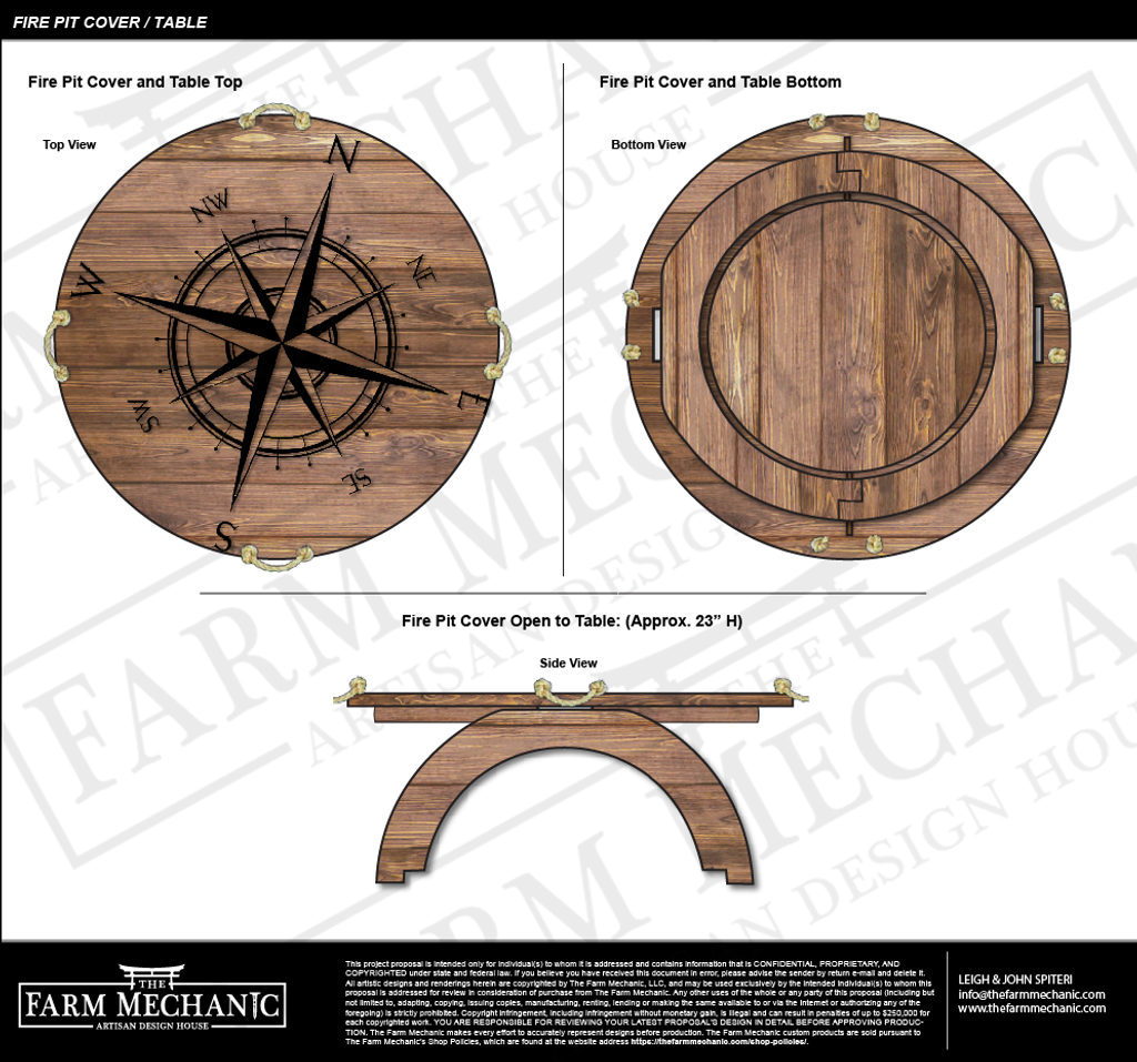 The Nautical Fire Pit Cover Table