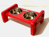 UK Red Phone Box Inspired Dog Bowl Stand