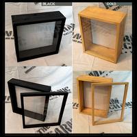 "Shadow Box - Artisan Rustic -16""W x 16""H x 3""D Black/Gold"