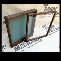 "Shadow Box - Artisan Rustic -24"" W x 20"" H x 3"" D Espresso/Periwinkle Blue Burlap"