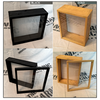 "Shadow Box - Artisan Rustic -24"" W x 20"" H x 3"" D Black/Gold"