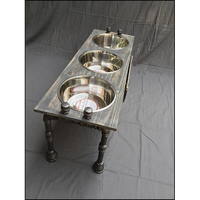 Raised Dog Bowl Stand - Large with 3 Bowls