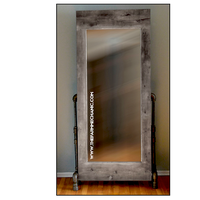 Artisan Industrial Rustic Mirror with Black Pipe Legs