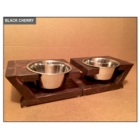 Hand Sculpted Artisan Dog Bowl Stand - Black Cherry