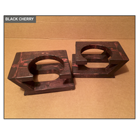 Hand Sculpted Rustic Dog Bowl Stand - Black Cherry