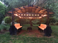Japanese Style Gazebo with Hanging Fire Pit   Event Rental