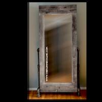 Wedding Rental | Artisan Industrial Rustic Mirror with Black Pipe Legs