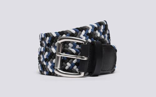 Grenson Woven Elastic Belt in Blue 0 - 3 Quarter View