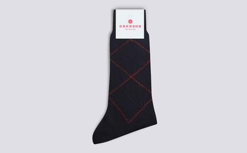Grenson Argyle Socks in Blue Wool/Nylon - 3 Quarter View