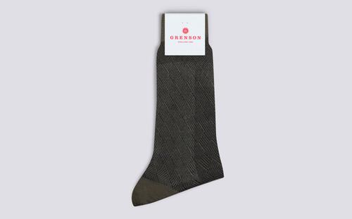 Grenson Diamond Weave Socks in Green Wool Mix - 3 Quarter View