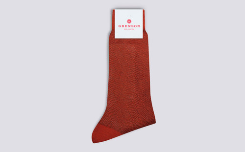 Grenson Diamond Weave Socks in Red Wool Mix - 3 Quarter View