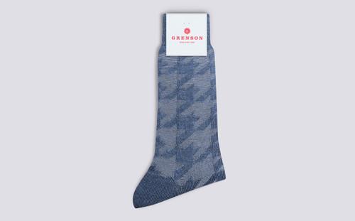Grenson Oversized Hounds Socks in Blue Wool/Nylon - 3 Quarter View