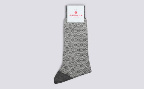 Grenson Fairisle Snowflake Socks in Grey Wool Mix - 3 Quarter View