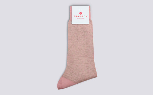 Grenson Fairisle Snowflake Socks in Pink Wool Mix - 3 Quarter View