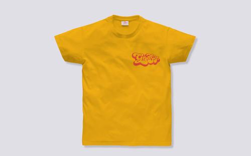 Grenson Script T-Shirt in Yellow Cotton - 3 Quarter View