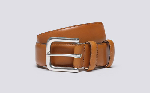 Grenson Casual Belt in Tan Leather - 3 Quarter View
