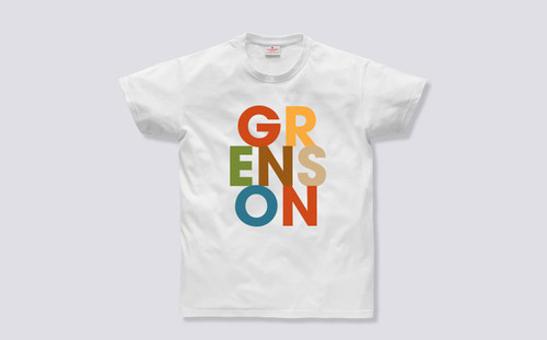 Grenson Text T-Shirt in White Cotton - Front View