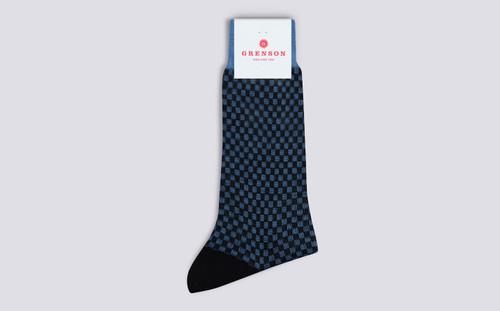 Womens Socks | Checker Socks in Blue | Grenson - Folded View