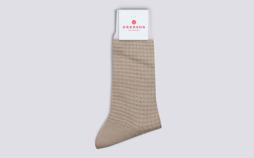 Womens Socks | Waffle Socks in Stone | Grenson - Folded View