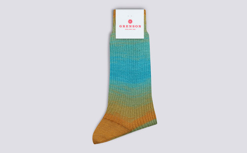 Womens Socks | Rainbow Socks in Blue Multi | Grenson - Folded View