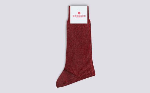 Womens Socks | Long Glitter Socks in Pink | Grenson - Folded View