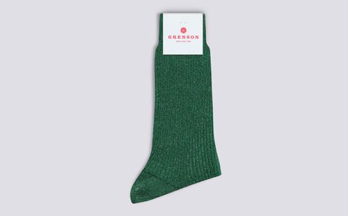 Womens Socks | Long Glitter Socks in Green | Grenson - Folded View
