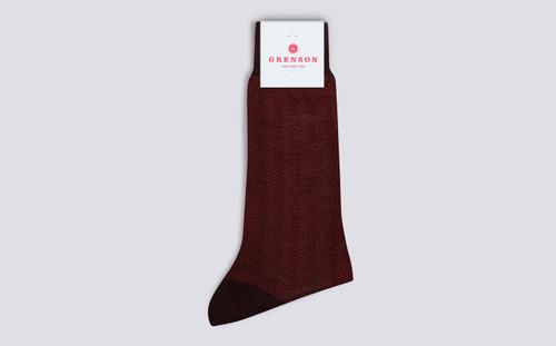 Mens Socks | Reptile Socks in Burgundy | Grenson - Folded View