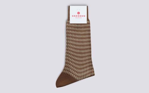 Mens Socks | Houndstooth Cotton Socks in Tan | Grenson - Folded View