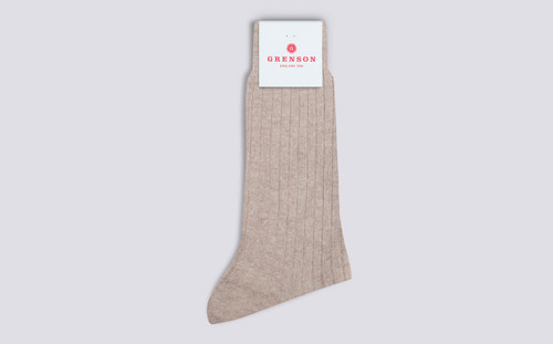 Mens Socks | 100% Recycled Socks in Neutral | Grenson - Folded View