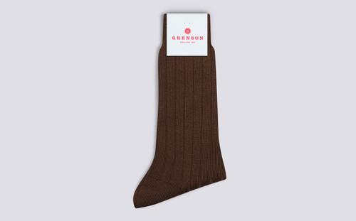 Mens Socks | Wool Rib Socks in Brown | Grenson - Folded View