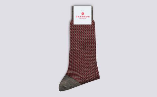 Mens Socks | Zig Zag Socks in Red | Grenson - Folded View