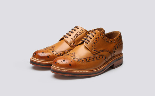 Grenson Archie in Tan Calf Leather - 3 Quarter View