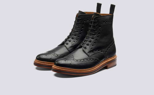 Grenson Fred in Black Calf Leather - 3 Quarter View