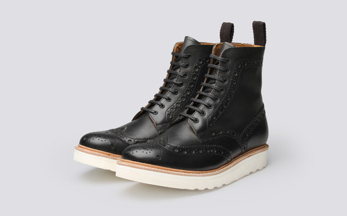 Fred | Mens Brogue Boot in Black Calf Leather | Grenson  - Main View