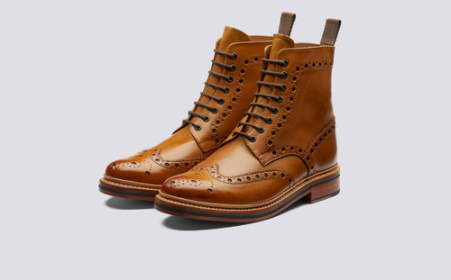 Grenson Fred in Tan Calf Leather - Three Quarter View