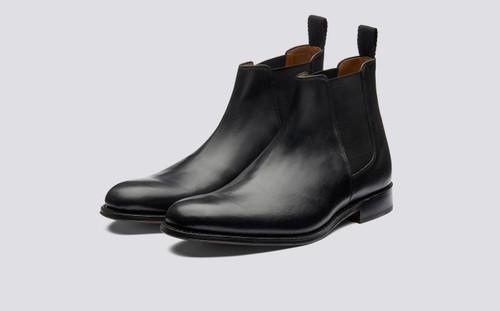 Declan | Mens Chelsea Boot in Black Calf Leather | Grenson - Main View