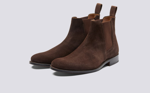 Declan | Mens Chelsea Boots in Chocolate Suede with a Leather Sole | Grenson Shoes - Main View