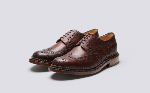 Grenson Archie in Brown Grain Calf Leather - 3 Quarter View